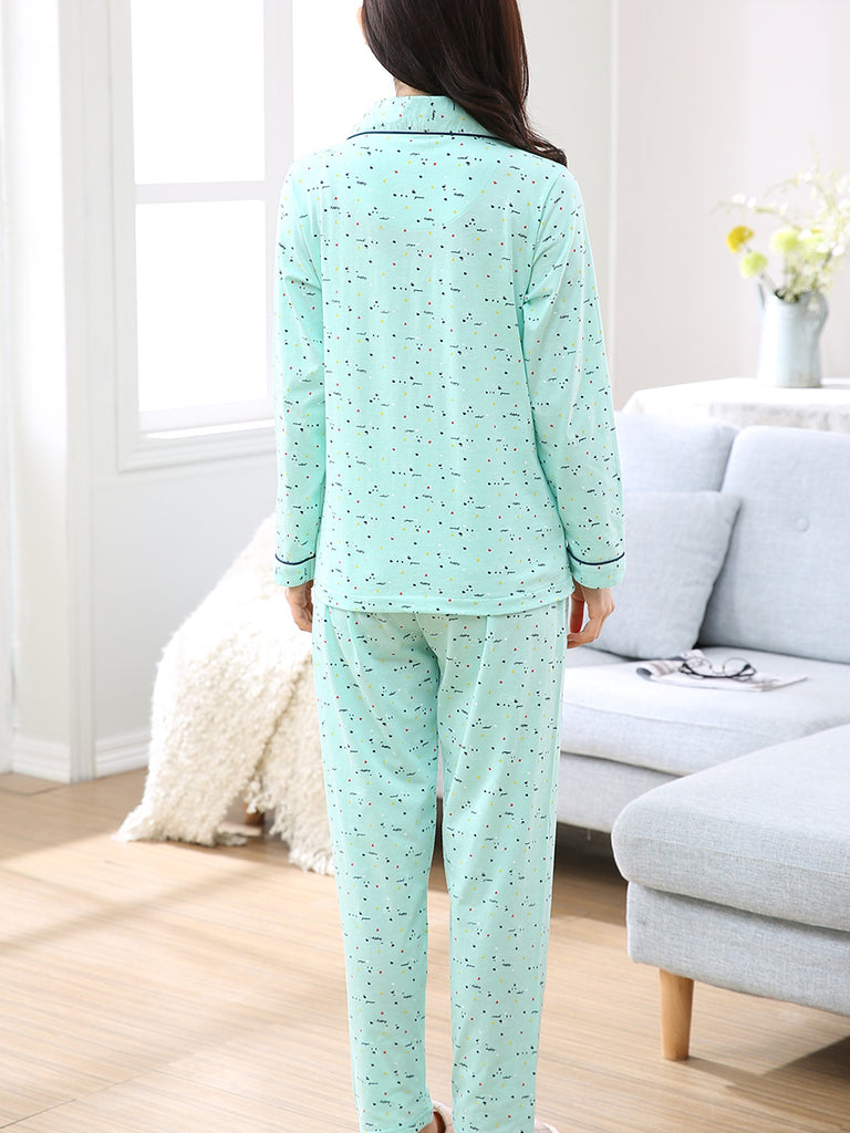 Women's Sleep Wear Suit Fresh Green Color Comfortable Soft Casual Pajamas