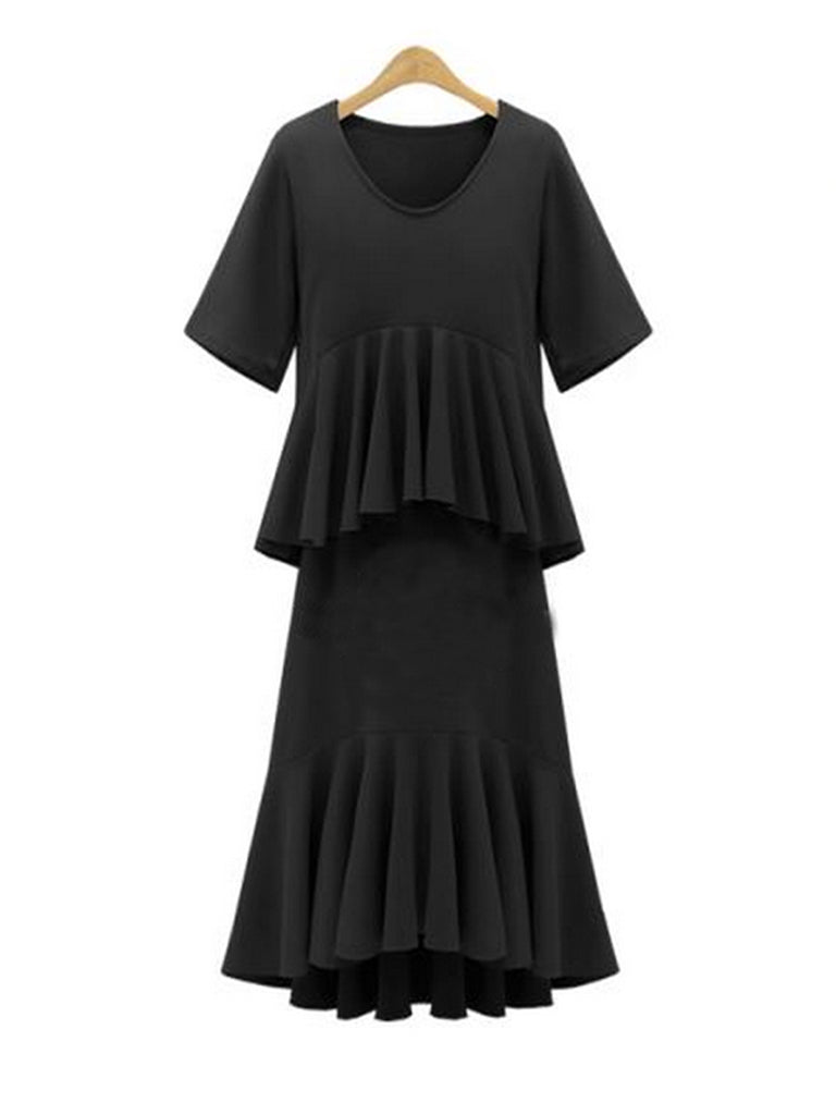 Women's Dress One Piece Layer Look V Neck Short Sleeve Ruffles Solid Midi Dress