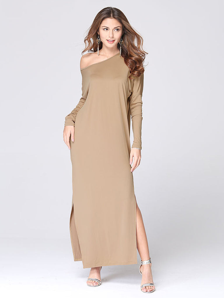 Women's Shift Dress Fashion Solid Color Split Long Sleeve Dress