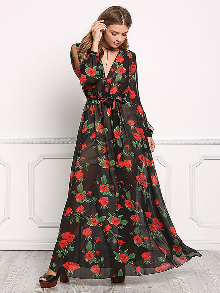 Women's Dress Long Sleeve V Neck Floral Maxi Long Dress