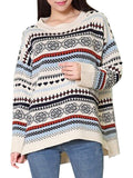 Geometric Print O-Neck Loose Long Sleeve Sweater
