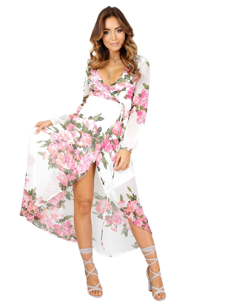 Women's Dress V Neck Floral Pattern Split Long Sleeve Beach Dress