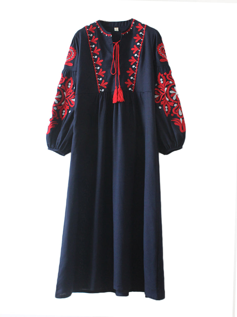 Women's Maxi Long Shift Dress Bishop Sleeve High Waisted Embroidery Dress