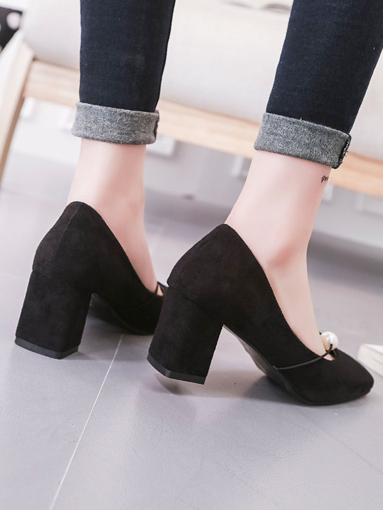 Women's Square Heel Pumps Solid Beads Decor Suede Slip On Shoes