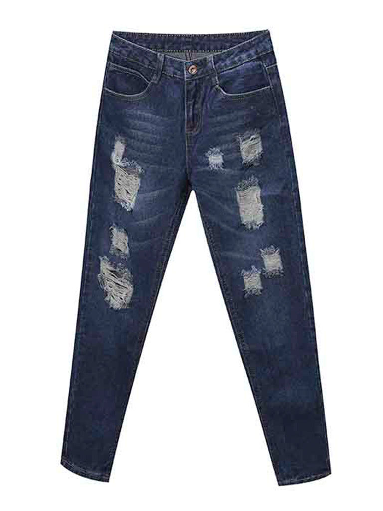Women's Jeans Solid Distressed Washed Denim Pants