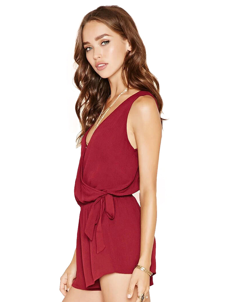 Women's Playsuits Solid Color V Neck Casual Playsuits