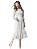 Women's Dress Solid Color Three Quarters Sleeve Sweet Lace Dress