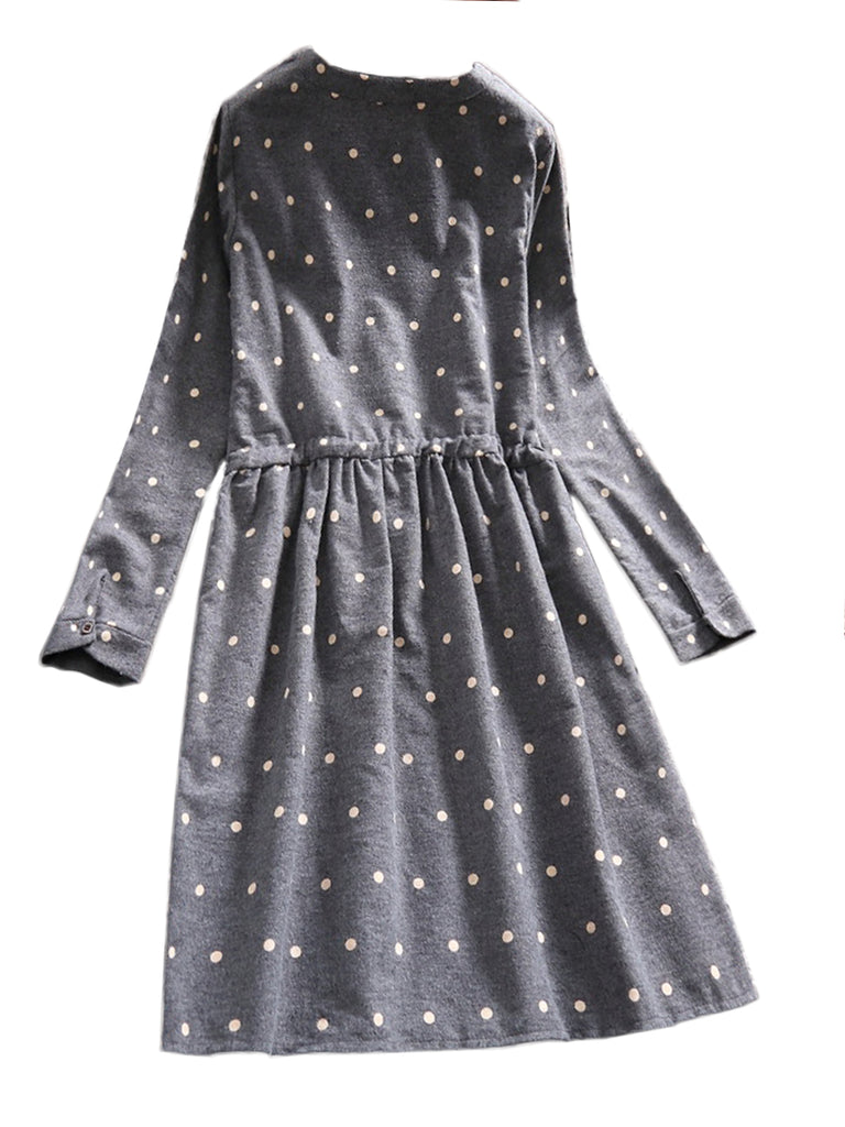 Women's Dress Polka Dot O Neck Long Sleeve Dress