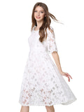 Women's Lace Dress Half Sleeve O Neck Solid Aline Dress