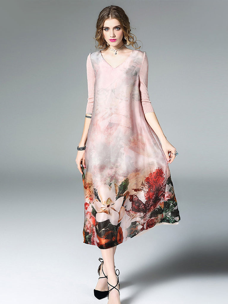 Women's Maxi Long Dress V Neck Three Quarters Sleeve Floral Loose Aline Dress