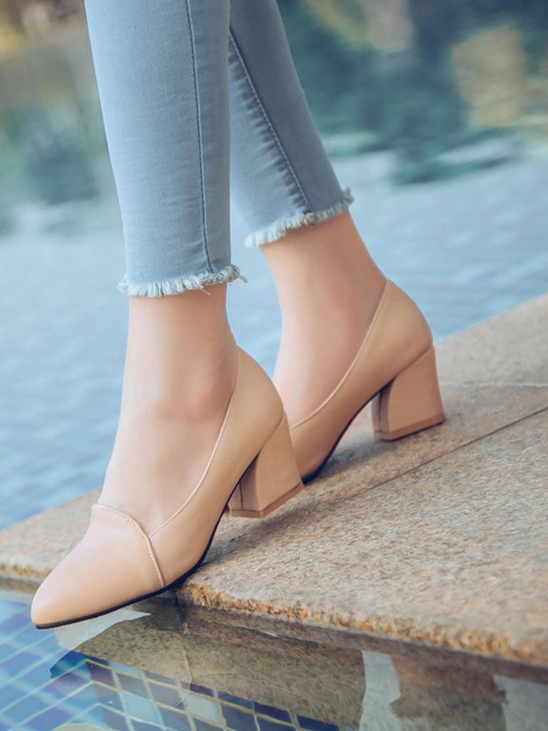 Women's Pumps Graceful Pointed Toe Solid Color Chunky Heel Shoes