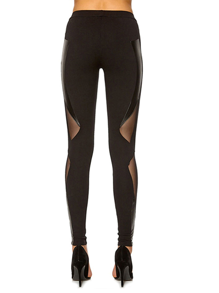 Women's Leggings Gauze Patchwork Visable Sexy Leggings