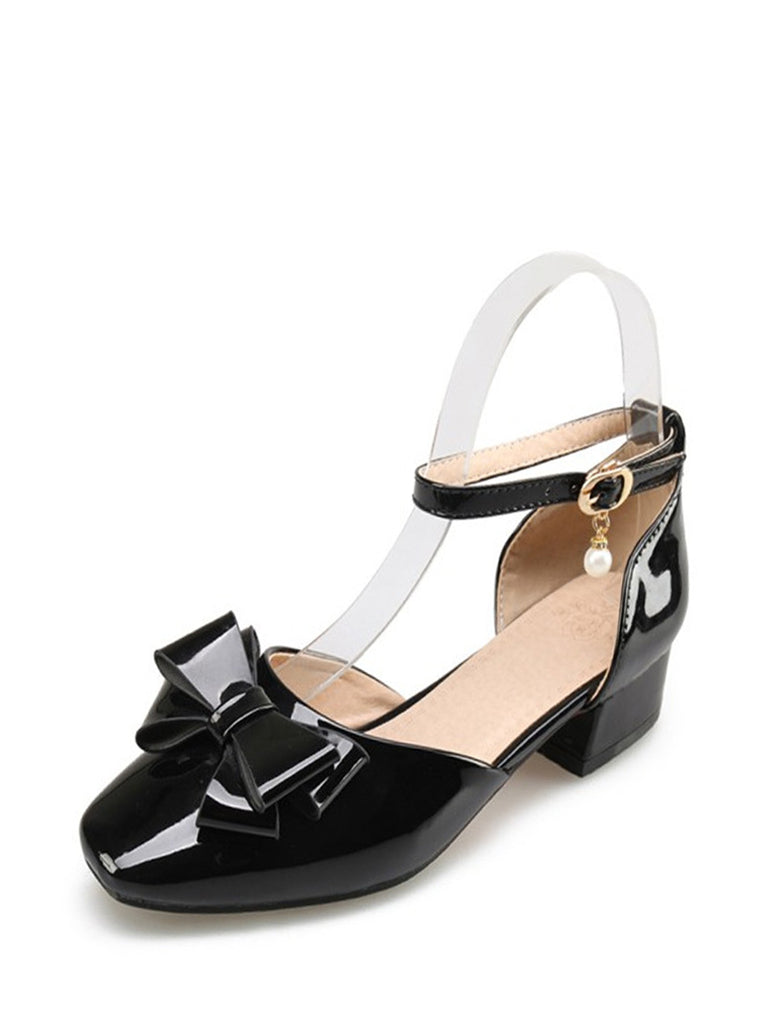 Women's Sandals Chic Bow Knot Buckle Strap Ankle Wrap Ladylike Shoes