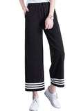 Women's Pants Stripe Casual Wide Leg Black Pants