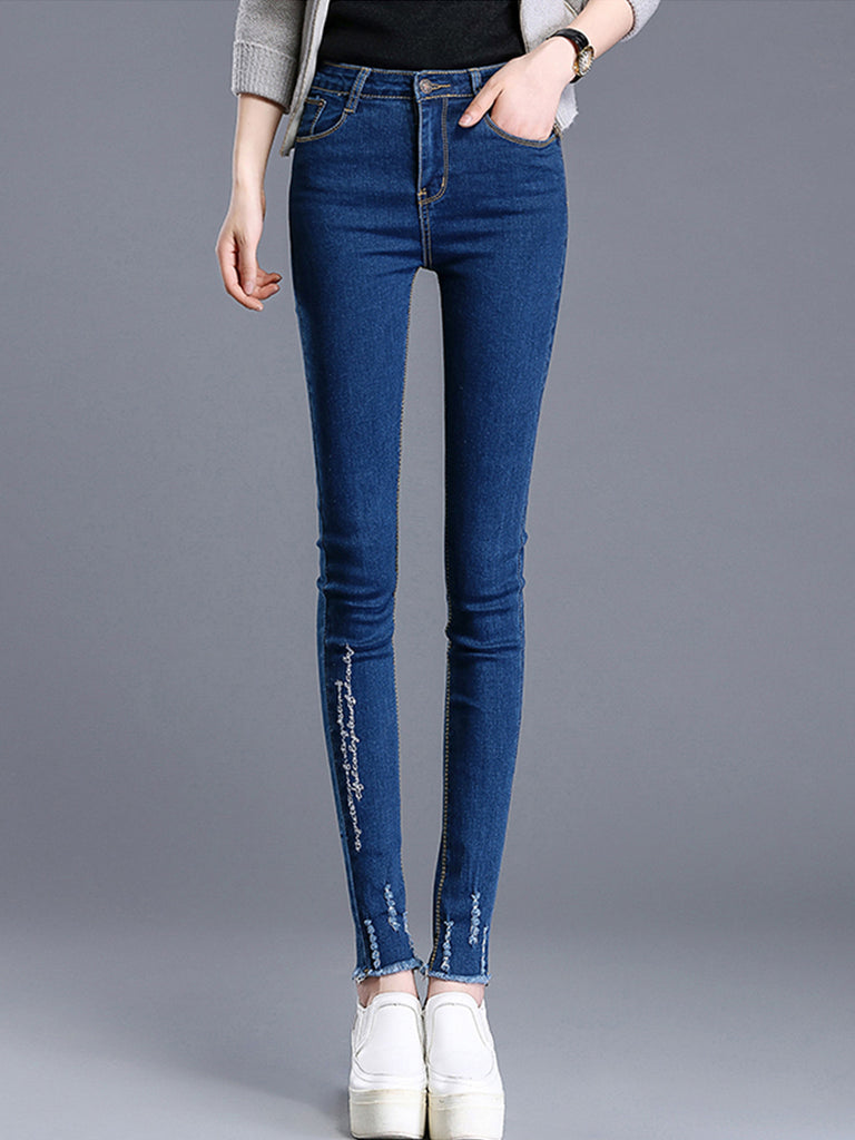 Women's Denim Pants Distressed High Waist Skinny Jeans