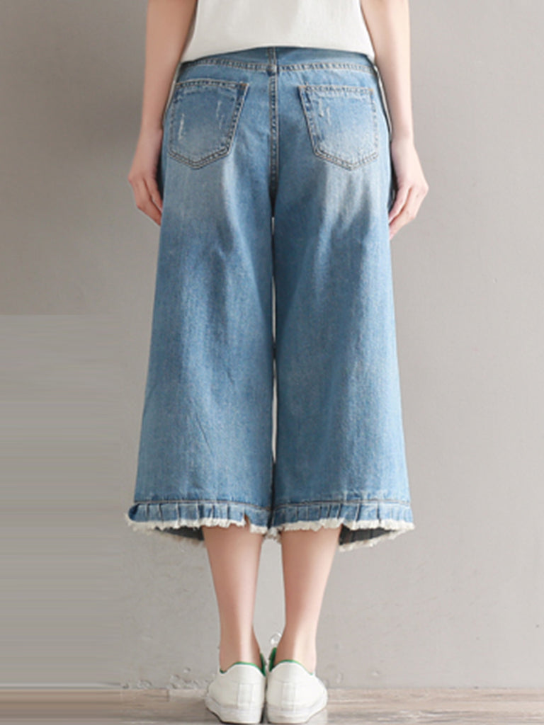 Women's Denim Pants Wide Leg Frayed Hem Cropped Jeans