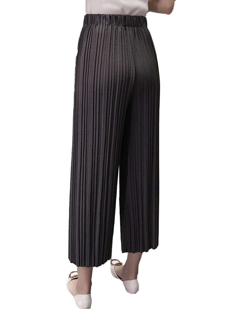 Women's Pants Casual Pleated Wide Leg Cropped Pants