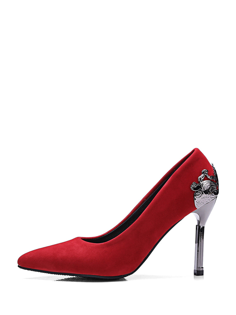 Women's Thin Heeled Pumps Chic Vintage Sanding Party Shoes