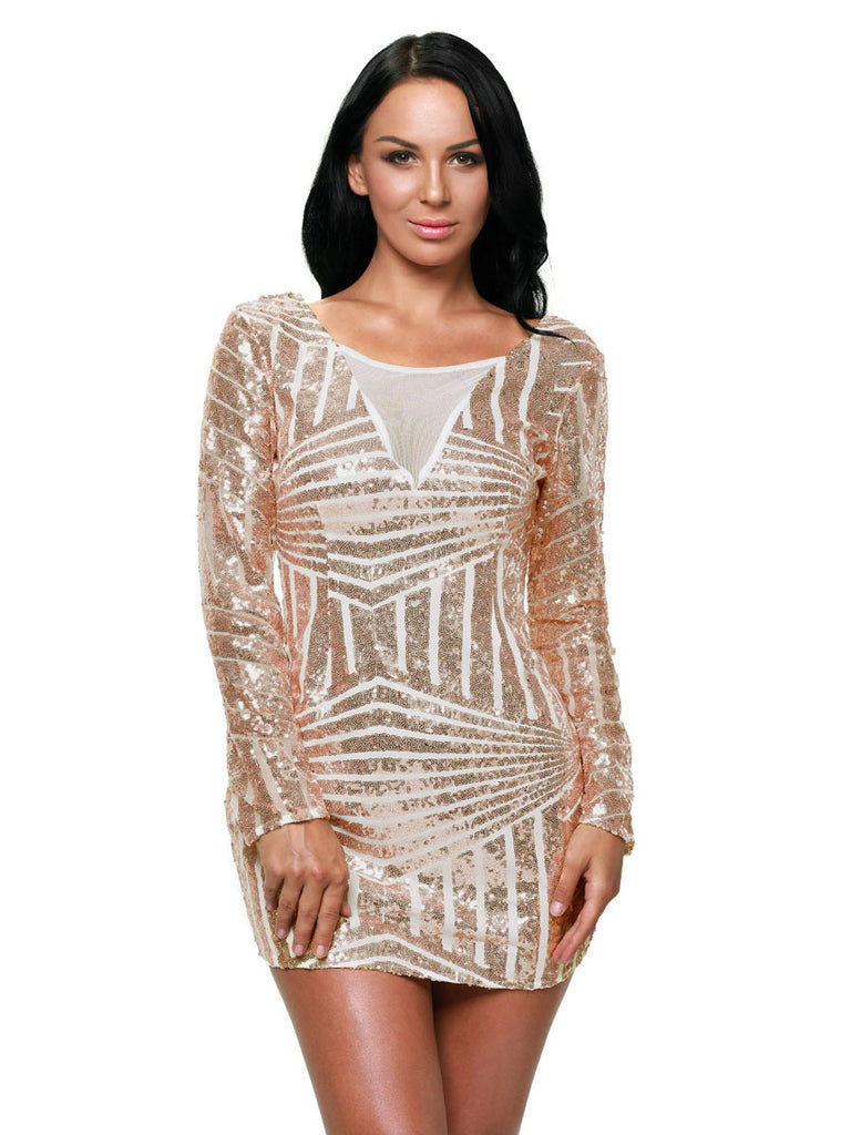 Women's Dress Long Sleeve Backless Sequined Mini Dress