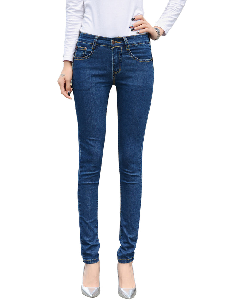 Women's Denim Pants Classic Solid Slim Full Length Jeans
