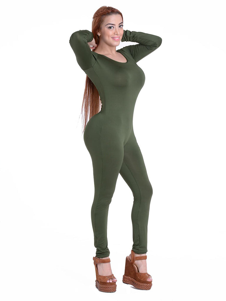 Women's Jumpsuits O Neck Long Sleeve Solid Color Brief Design Skinny Jumpsuits
