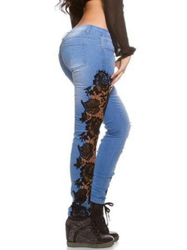 Women's Jeans Lace Patchwork Casual Skinny Jean Pants
