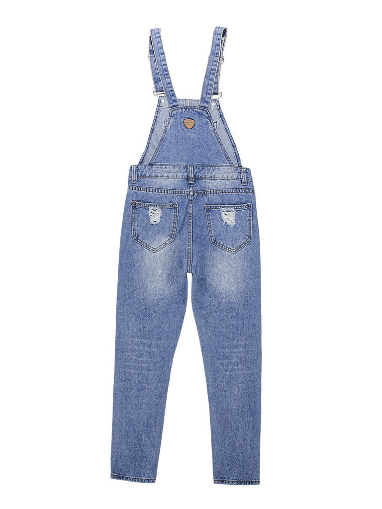 Women's Overalls Distressed Washed Classic Denim Suspender Pants