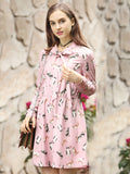 Women's Dress Cute Cat Pattern Long Sleeve Sweet Plus Size Dress