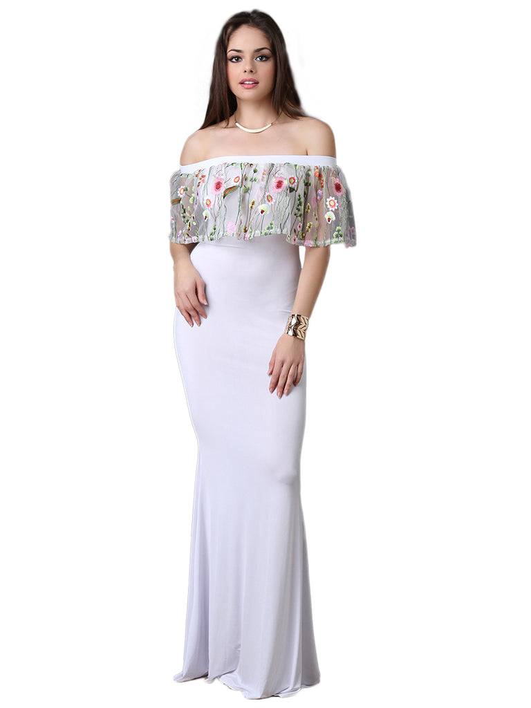 Women's Maxi Long Dress Slash Neck Floral Embroidery Dress
