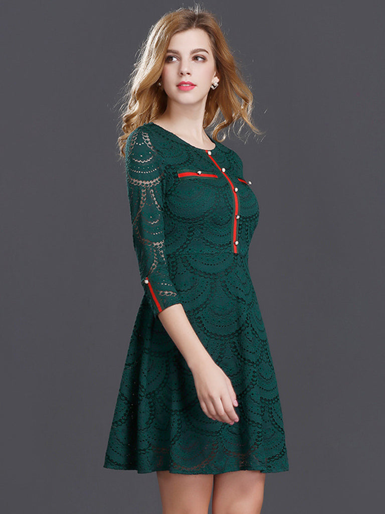 Women's Lace Dress O Neck Three Quarters Sleeve Hollow Out Aline Mini Dress