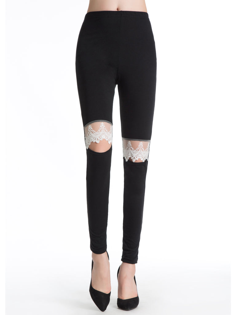 Women's Leggings Hole Solid Color Skinny Leggings