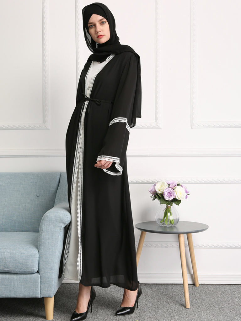 Women's Abaya Flared Sleeve Lace Patchwork Maxi Long Abaya