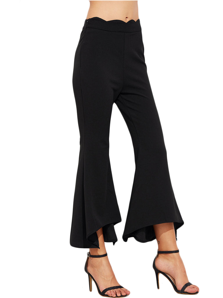 Women's Pants Flared Bottom Solid Color Slim Cropped Pants
