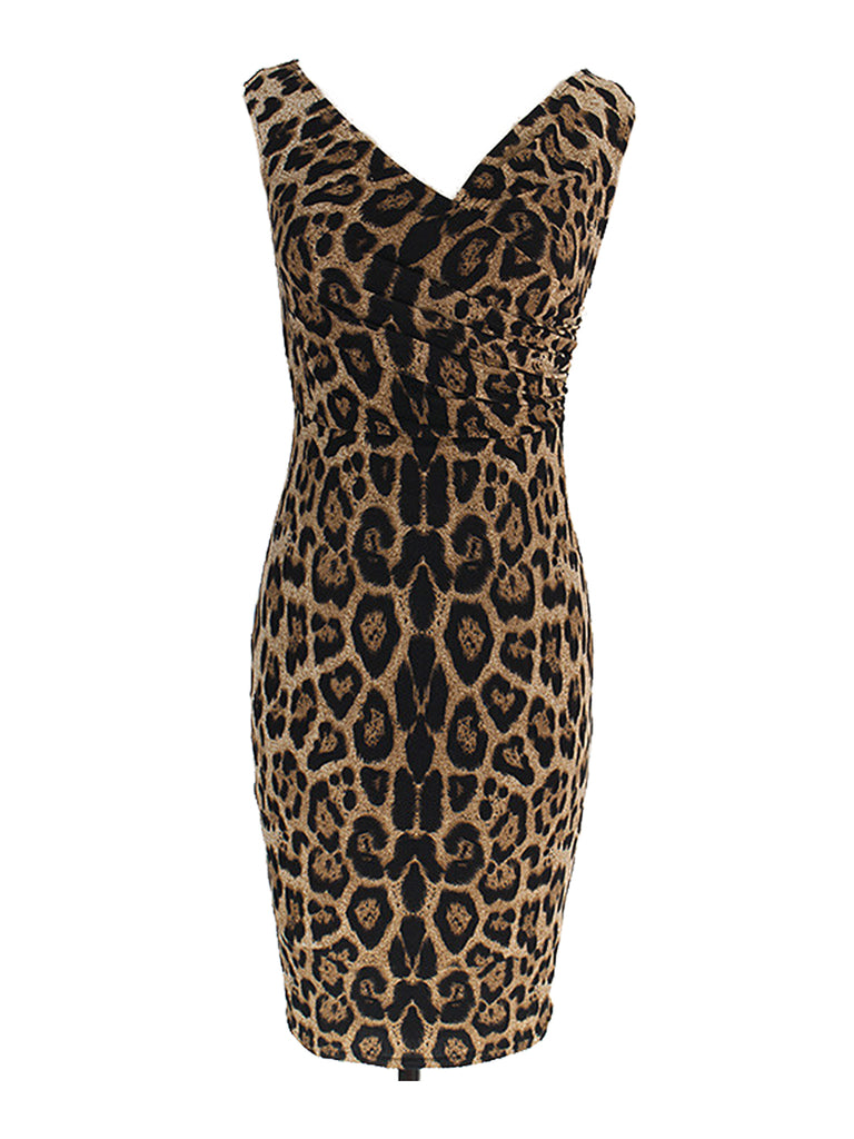 Women's Dress Leopard Pattern V Neck Sheath Dress