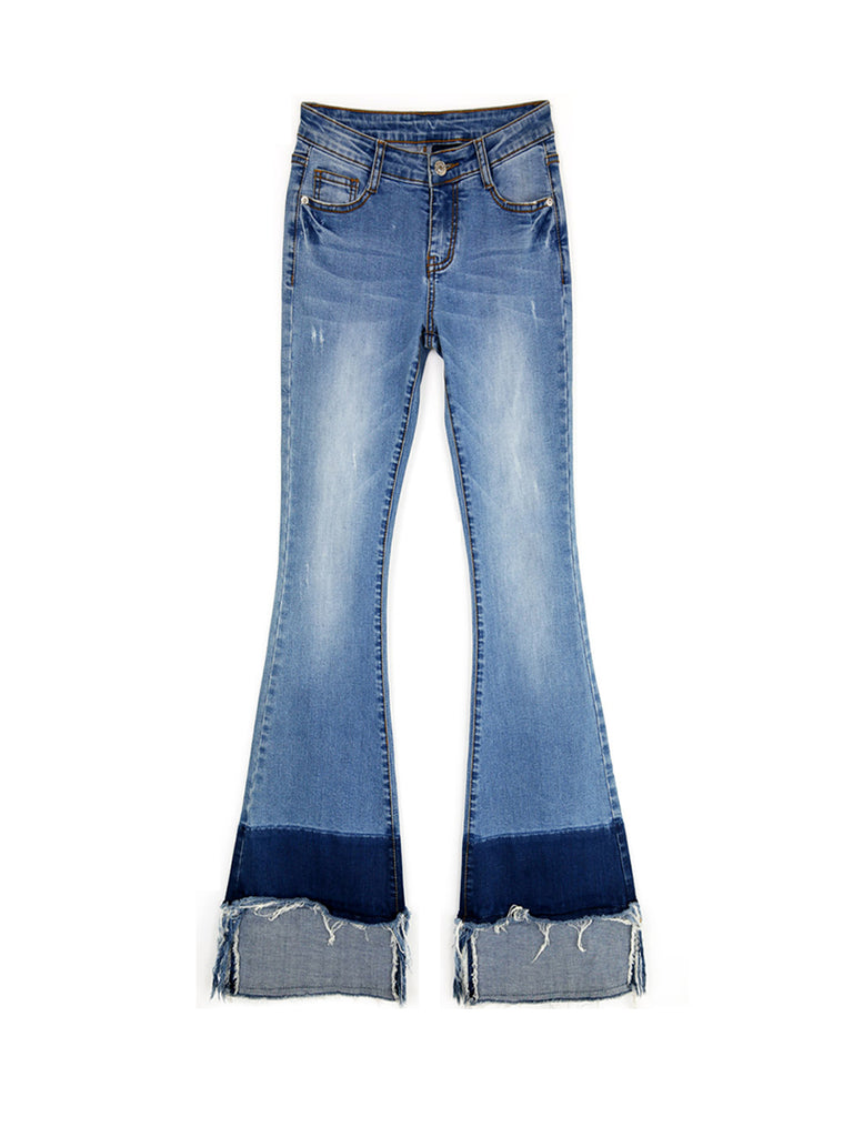 Women's Jeans Color Block Patchwork Flared Bottom Slim Plus Size Jeans
