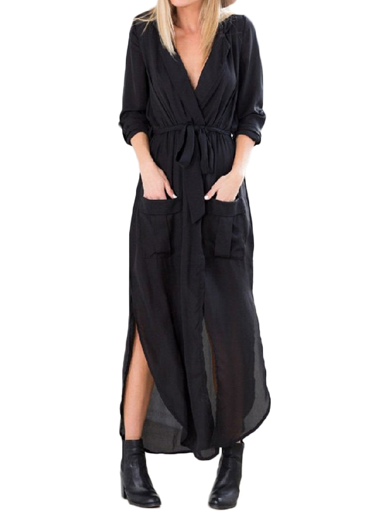 Women's Maxi Long Dress Turn Down Collar Solid Color Split Loose Dress