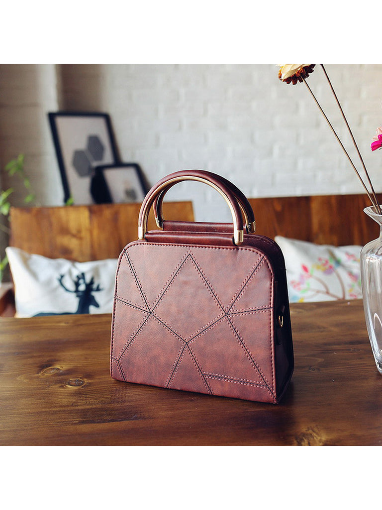 Women's Handbag Geometric Lining Delicate Metal Handle Bag