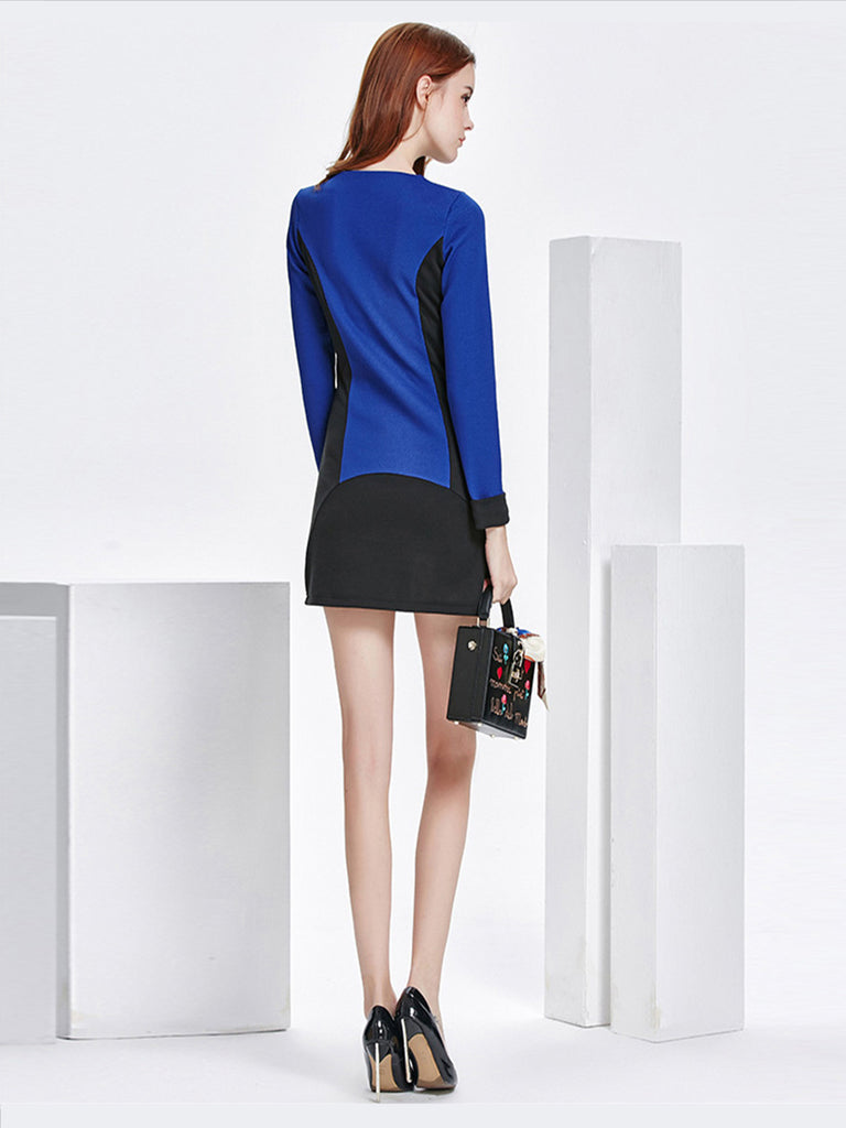 Women's T Shirt Dress Long Sleeve Color Block Patchwork Mini Dress
