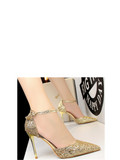 Women's Pumps Fashion Cusp Paillette Thin Heeled Strap Party Shoes