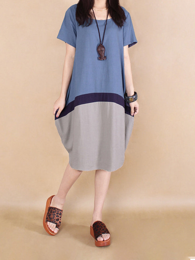 Women's Dress Short Sleeve Color Block Casual Dress