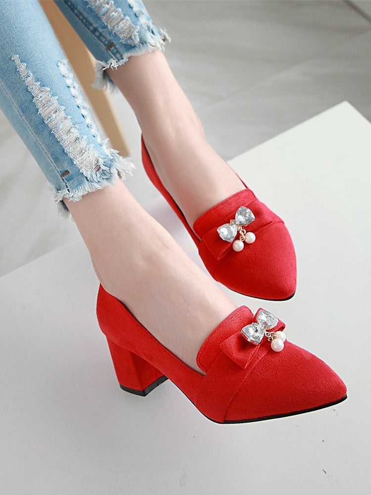 Women's Pumps Square Heels Bowknot Rhinestone Elegant Pumps