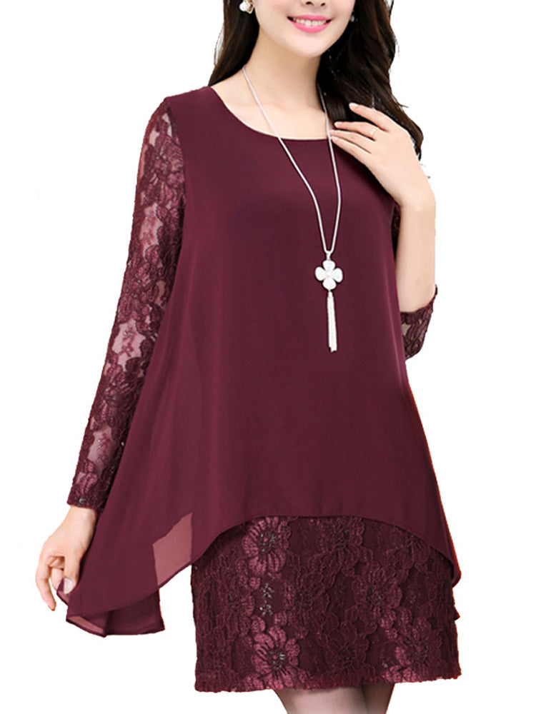 Women's Dress 3/4 Sleeve Lace Patch Solid Plus Size Dress