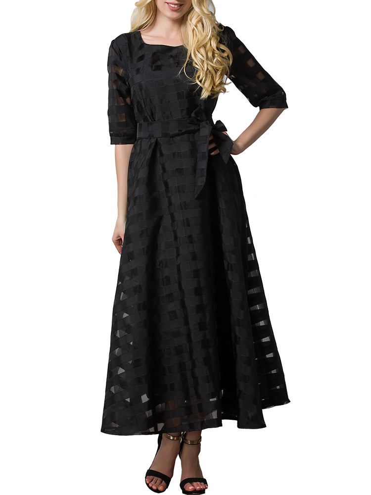 Women's Plus Size Dress Half Sleeve Black Aline Maxi Long Dress