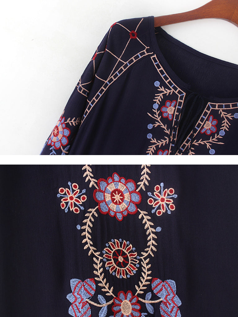 Women's Maxi Long Dress Embroidery Design Vintage Dress