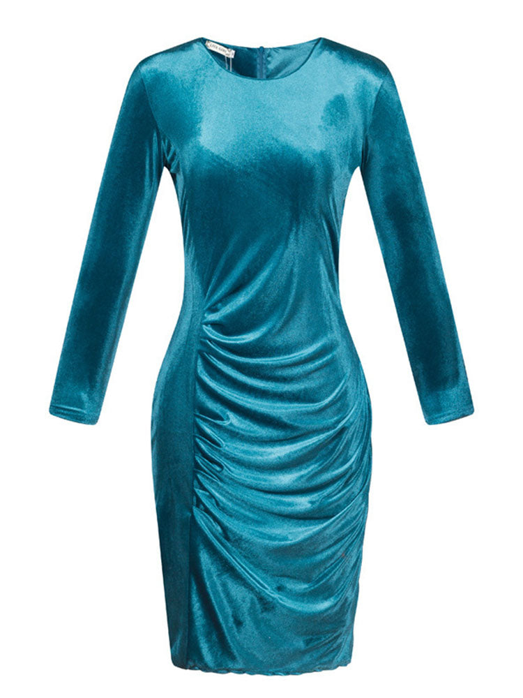 Women's Sheath Dress Long Sleeve Solid Color Midi Dress