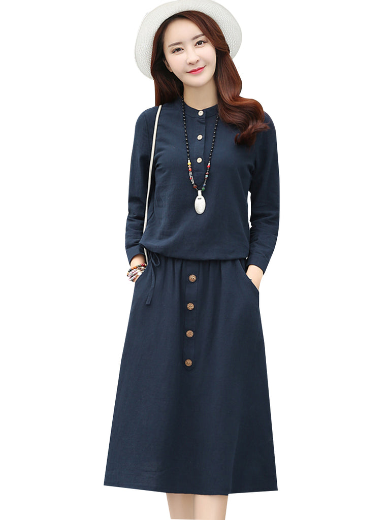 Women's 2Pcs Long Sleeve T Shirt Midi Button Design Skirt Suits
