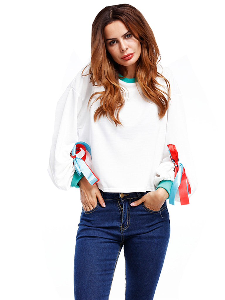 Women's Sweatshirt Lacing Long Sleeve Cozy Sweatshirt