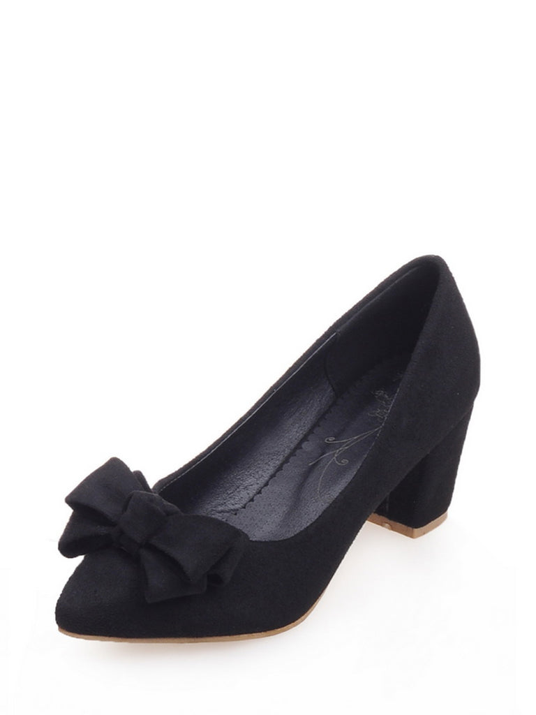 Women's Pumps Fashion Bowknot Design Elegant All Match Thick Heel Shoes