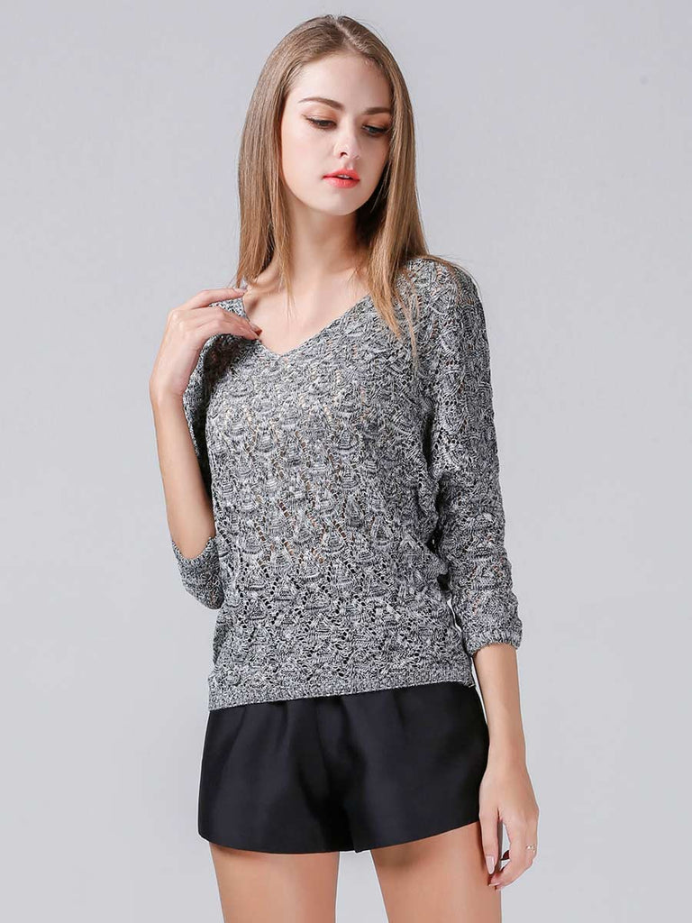 V Neck Hollow Out Long Sleeve Sweater