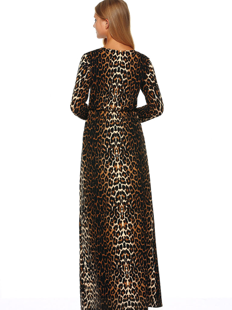 Women's Maxi Long Dress Leopard Pattern Split Sexy Dress